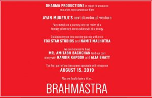 Karan Johar's Next with Amitabh-Ranbir-Alia titled Brahmastra, 15 August 2019 Release